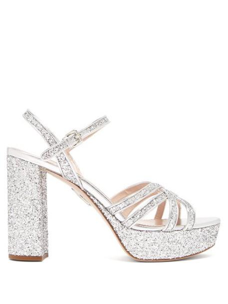 Miu Miu - Glittered Leather Platform Sandals - Womens - Silver