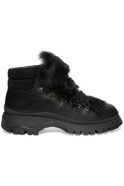 Prada - Shearling-trimmed Leather Ankle Boots - Black