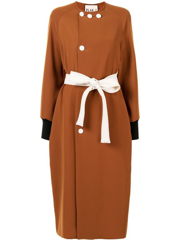 Plan C belted single-breasted coat in brown