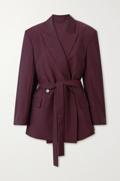 Acne Studios - Belted Wool And Mohair-blend Blazer - Burgundy