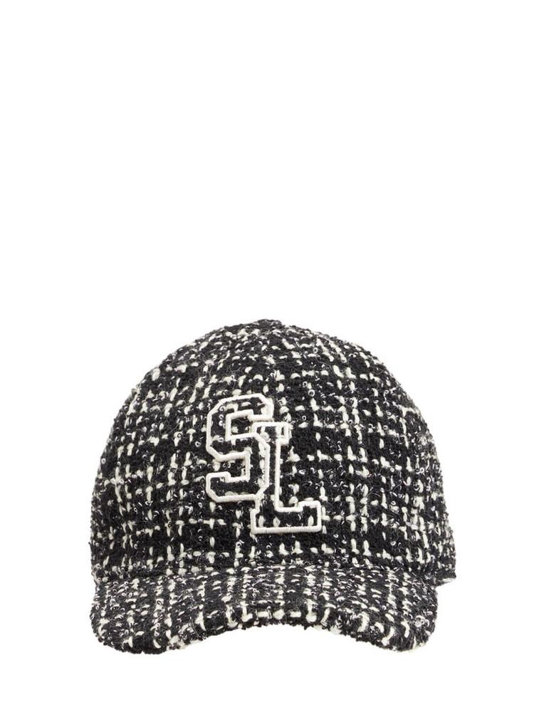 SAINT LAURENT Casquette Tweed Hat in black / ivory