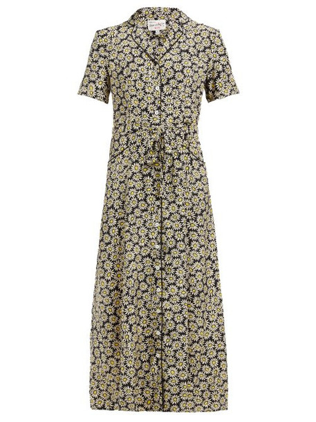 Hvn - Long Maria Daisy Print Silk Midi Dress - Womens - Black Multi