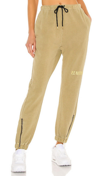 P.E Nation Defense Track Pant in Olive in grey