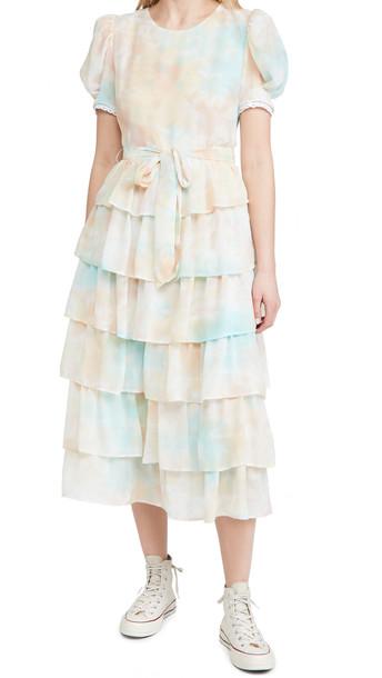 ENGLISH FACTORY Tie-Dye Tiered Midi Dress in peach / multi