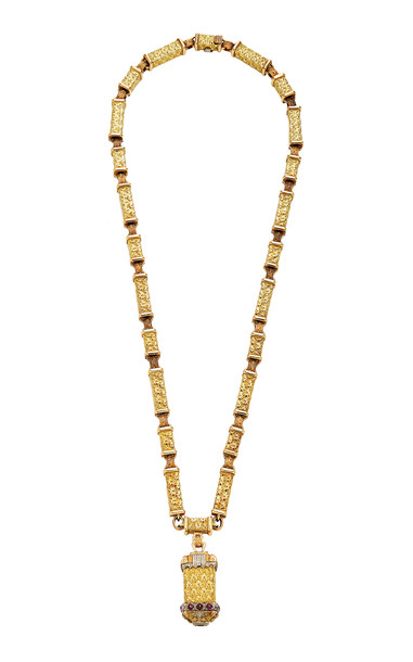Eleuteri Vintage Cazzaniga 18K Yellow Gold and Sapphire Necklace