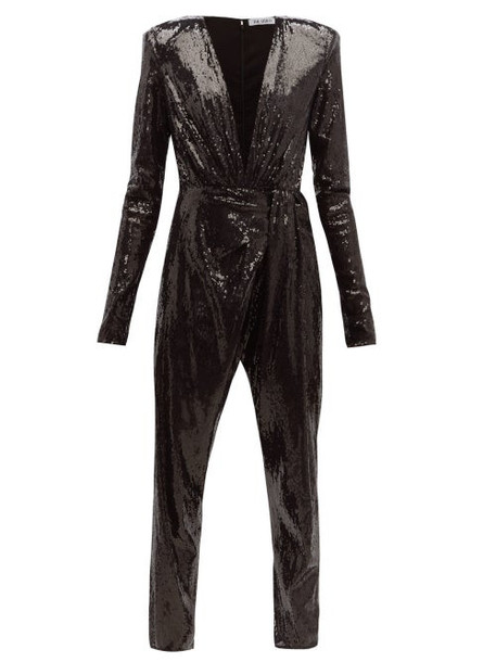The Attico - Sequinned V Neck Jumpsuit - Womens - Black