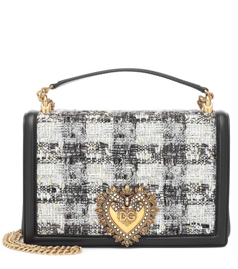 Dolce & Gabbana Devotion Medium tweed shoulder bag in grey