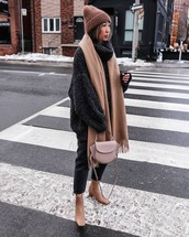 sweater,oversized sweater,turtleneck sweater,black sweater,ankle boots,black jeans,straight jeans,crossbody bag,scarf,beanie