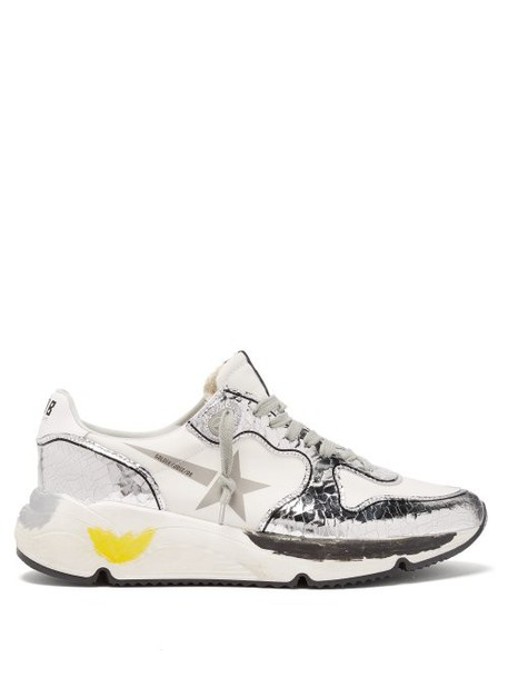 Golden Goose - Metallic Panel Neoprene And Leather Trainers - Womens - White Silver