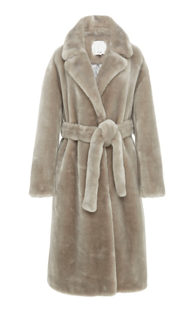 Tibi Oversized Belted Faux Shearling Coat Size: XS in grey