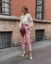 top,floral,high waisted pants,pumps,crossbody bag