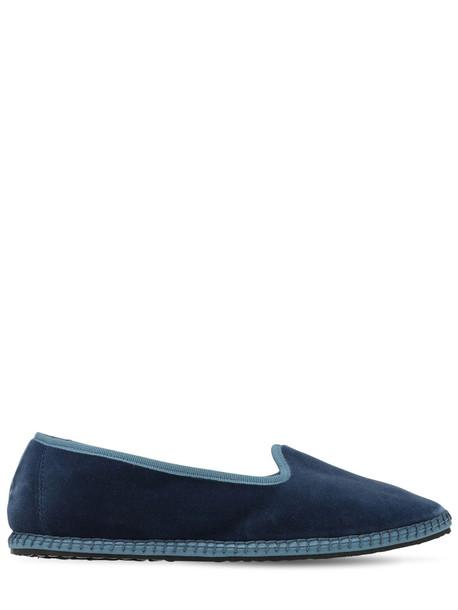 VIBI VENEZIA 10mm Velvet Loafers in blue