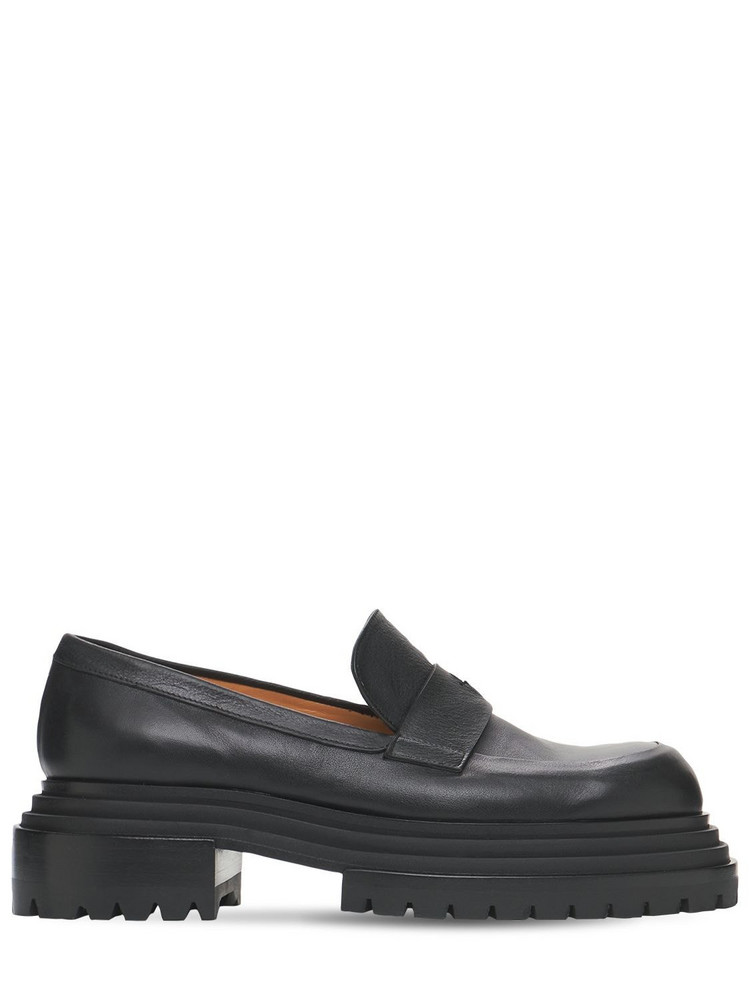 PACIOTTI 60mm Leather Loafers in black