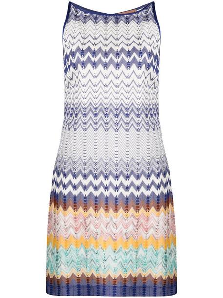 Missoni zigzag sleeveless mini dress in blue