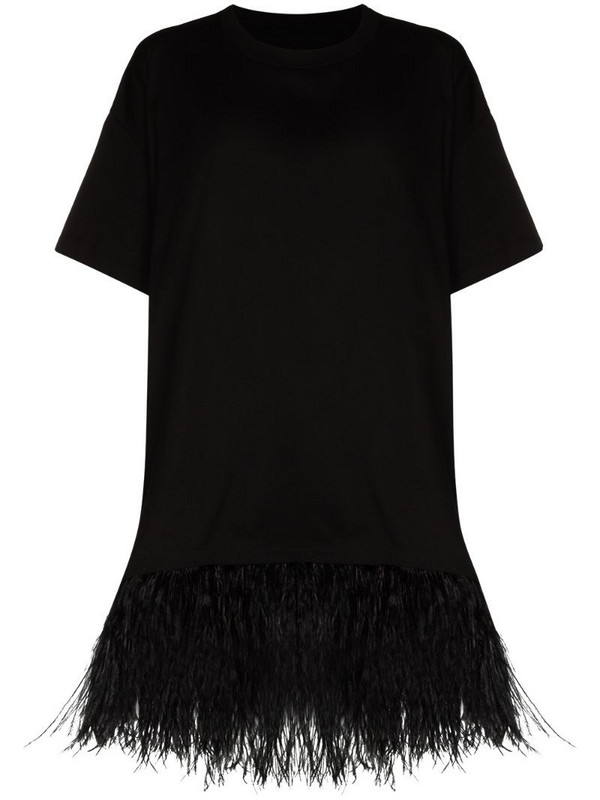 Marques'Almeida feather-trim oversized T-shirt in black