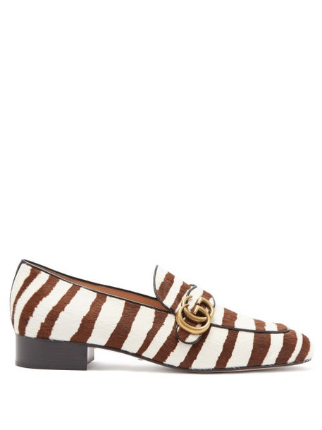 Gucci - Marmont Gg Zebra-stripe Calf-hair Loafers - Womens - Brown White