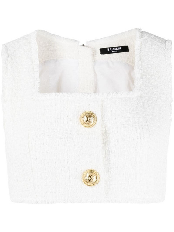 Balmain cropped tweed vest in white