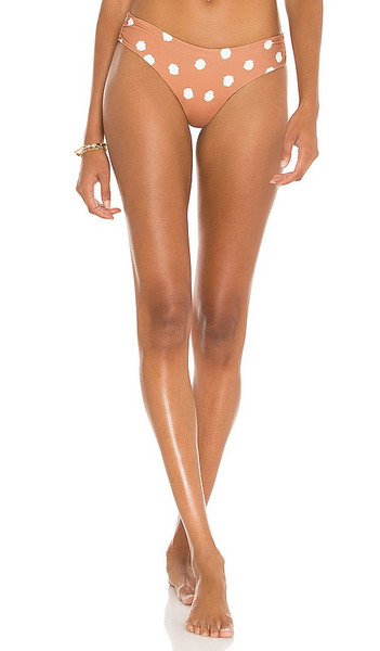 JONATHAN SIMKHAI Jules Bikini Bottom in Taupe in white