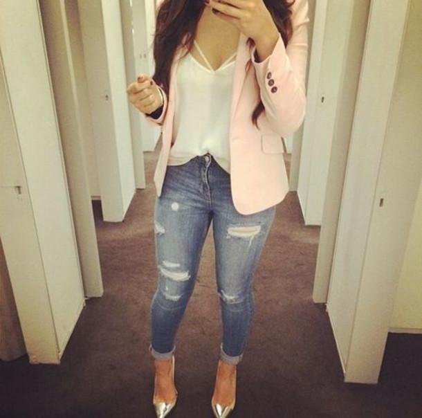 jeans cardigan blouse jacket top pink blazer womans blazer ripped jeans silver heels