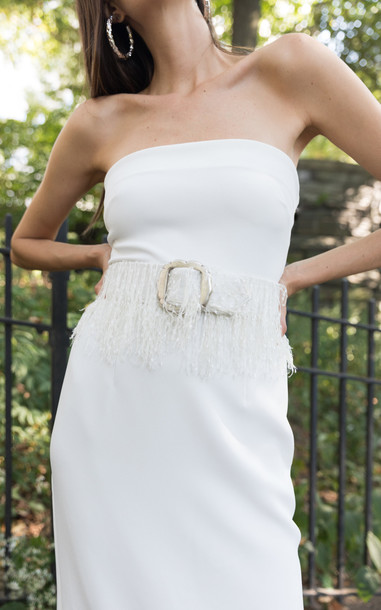 Lein Crepe Strapless Sherry Dress Size: 6 in white