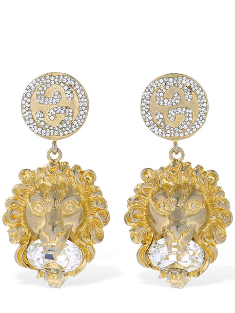 GUCCI Lion Head Crystal Clip-on Earrings in gold