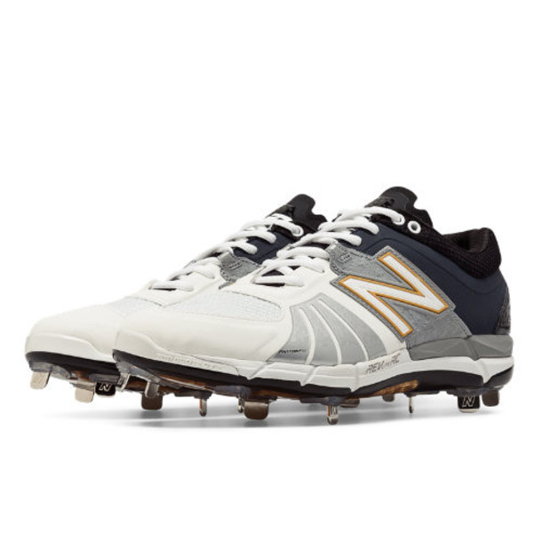 New Balance Playoff Pack Low-Cut 3000v2 Metal Cleat Men's Low-Cut Cleats Shoes - White, Black, Metallic Silver (L3000XK2)