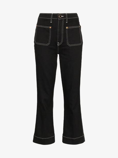 Khaite Raquel cropped contrast topstitch jeans in black