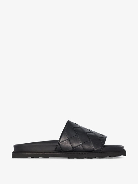 Bottega Veneta black Speedster woven leather slides