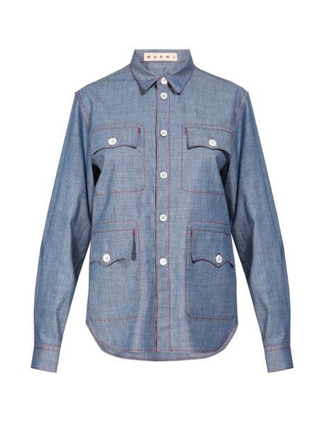 Marni - Contrast Stitch Chambray Shirt - Womens - Light Blue