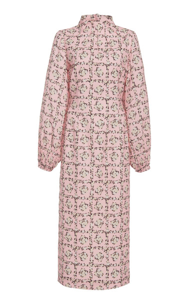 Emilia Wickstead Alison High Neck Floral Crepe Midi Dress Size: 12 in pink