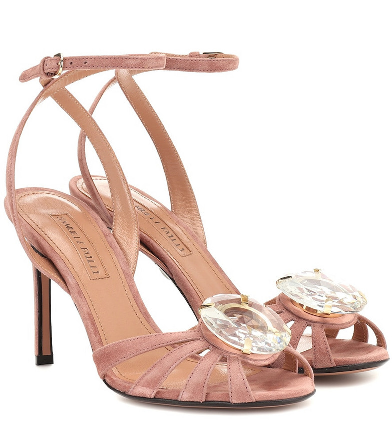 Samuele Failli Ely 90 embellished suede sandals in pink