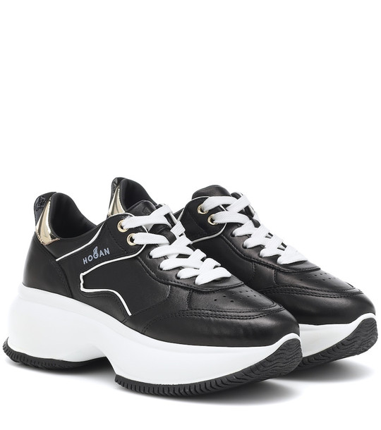Hogan Maxi I Active leather sneakers in black