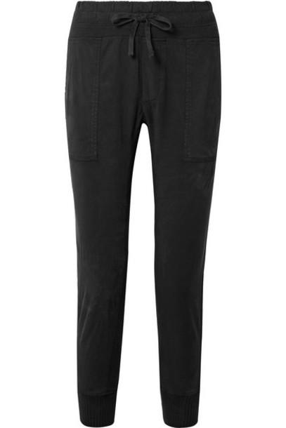 James Perse - Jersey-trimmed Cotton-gabardine Track Pants - Black