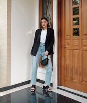 bag,black bag,black sandals,black blazer,straight jeans,white t-shirt