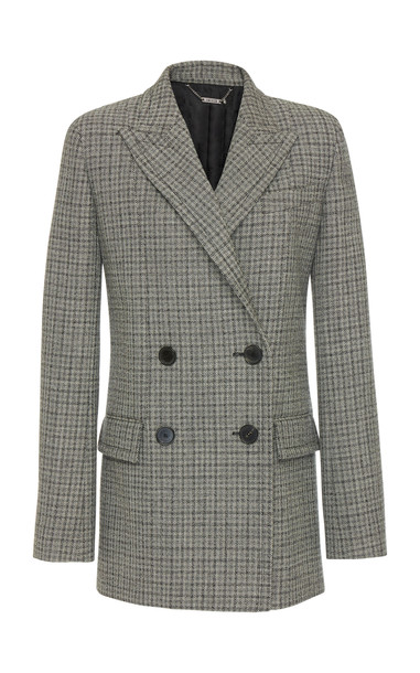 Givenchy Double-Breasted Checked Wool Blazer in black / white