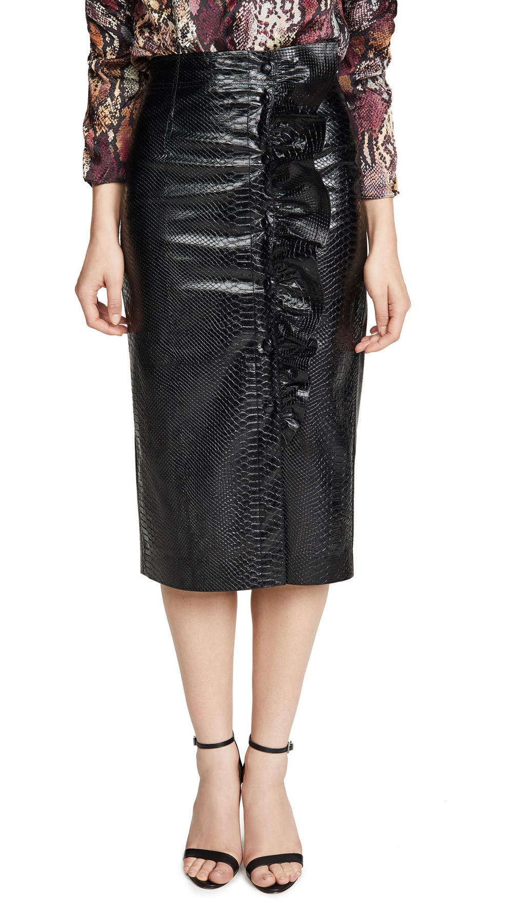 Rebecca Taylor Faux Snake Skirt in black