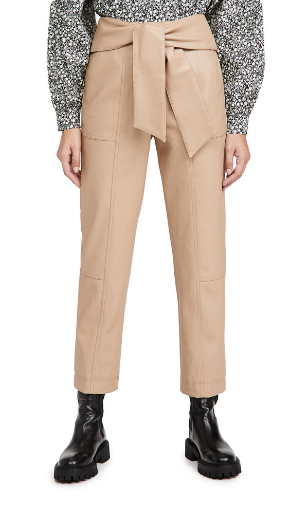 Jonathan Simkhai Tessa Vegan Leather Tie Waist Pants in camel