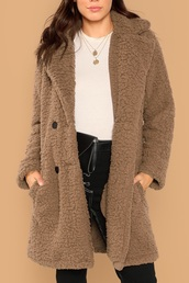 coat,girly,girl,girly wishlist,teddy bear coat,teddy,long,long coat,trendy,brown,button up
