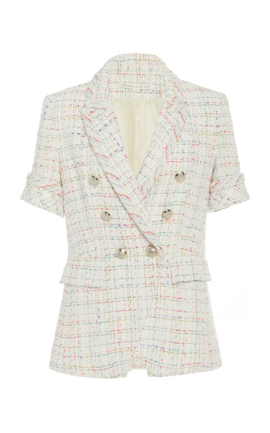 Veronica Beard Jenny Dickey Double-Breasted Tweed Jacket Size: 00 in white