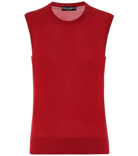 Dolce & Gabbana Cashmere and silk knit tank top in red