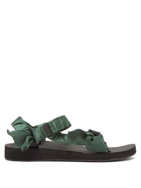 Arizona Love - Trekky Satin Wrapped Velcro Strap Sandals - Womens - Green