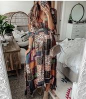 dress,boho dress,maxi dress,hippie chic,patchwork,patch,smock dress,trendy
