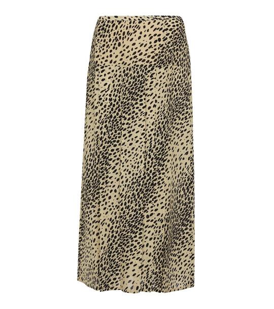 RIXO Nancy animal-print silk midi skirt in beige