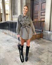 top,oversized jacket,black boots,knee high boots,black bag