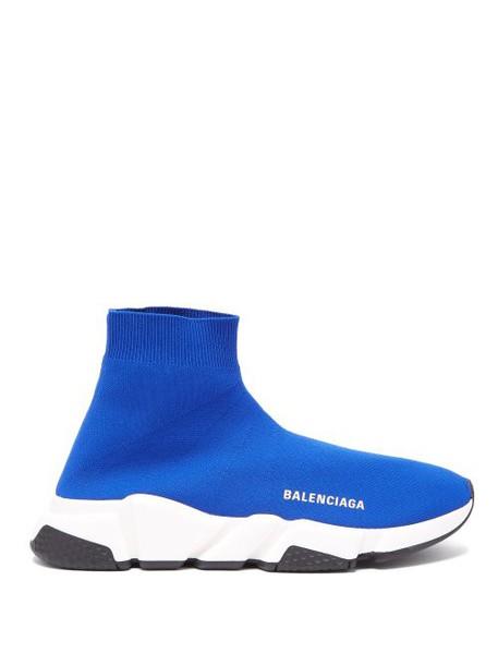 Balenciaga - Speed High Top Sock Trainers - Womens - Blue