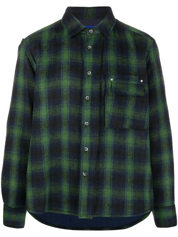 Ader Error regular-fit check shirt in green