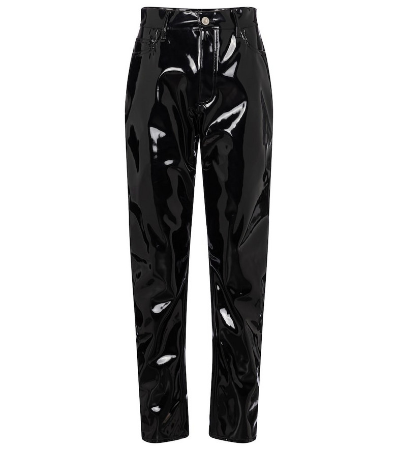 The Attico Dua high-rise tapered vinyl pants in black