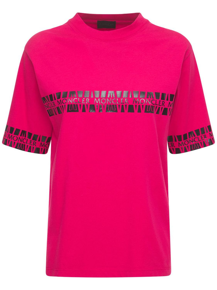 MONCLER Printed Cotton Jersey T-shirt in pink