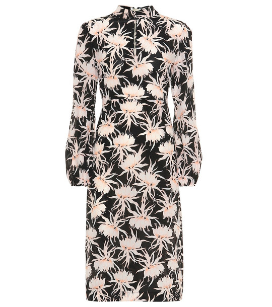 Rochas Parure floral silk midi dress in black
