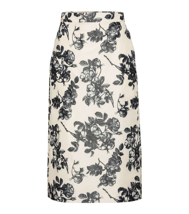 Brock Collection Stella floral cotton midi skirt in white